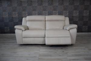 Divano relax in pelle grigio perla a 3 posti con meccanismi recliner elettrici - schienale alto