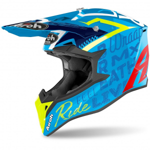 CASCO MOTO CROSS AIROH WRAAP STREET AZURE GLOSS 2020 WRST99