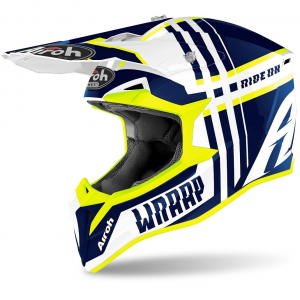 CASCO MOTO CROSS AIROH WRAAP BROKEN BLUE GLOSS 2020 WRBR18