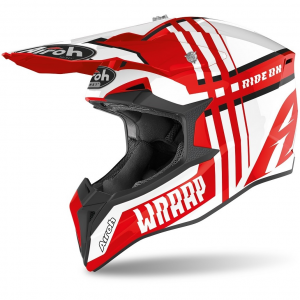 CASCO MOTO CROSS AIROH WRAAP BROKEN RED GLOSS 2020 WRBR55