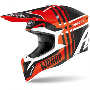 CASCO MOTO CROSS AIROH WRAAP BROKEN ORANGE MATT 2020 WRBR32
