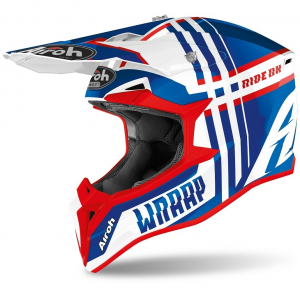 CASCO MOTO CROSS AIROH WRAAP BROKEN BLUE/RED GLOSS 2020 WRBR38