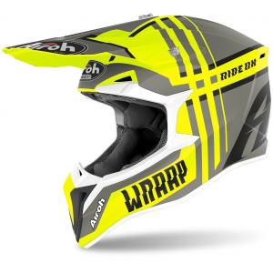 CASCO MOTO CROSS AIROH WRAAP BROKEN YELLOW MATT 2020 WRBR31