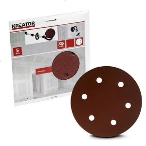 Kreator 5pz disco carta abrasiva circolare forata 225mm grana150 art.KRT232007
