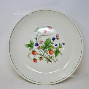 Vassoio In Ceramica Bianco Con Disegno Frutti Di Bosco