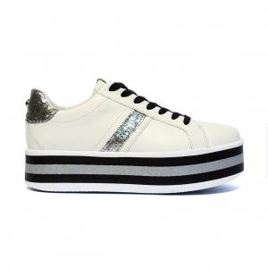 Sneaker bianca con fondo multirighe Apepazza