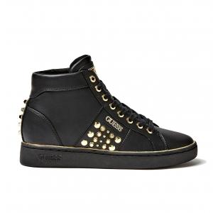 Sneaker alta nera con borchie Guess