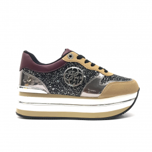 Sneaker beige/bordò con para alta Guess