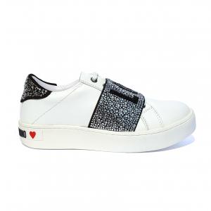 Sneaker bianca con fascia strassata Love Moschino