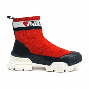 Sneaker a calzino rossa Love Moschino