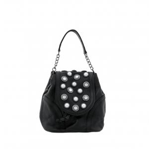 Zaino/Borsa a secchiello nero con bottoni e perle Tosca Blu