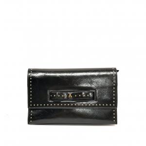 Pochette nera lucida con borchiette PashBag