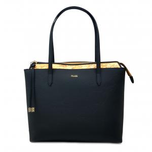 Shopper nera/geo beige con rilievo 1a Classe