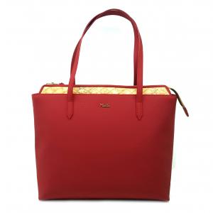 Shopper rossa/geo beige con rilievo 1a Classe
