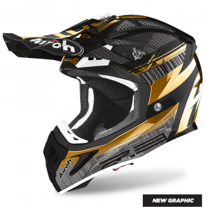 CASCO MOTO CROSS AIROH AVIATOR 2.3 AMS2 NOVAK CHROME GOLD 2020 AV23N90