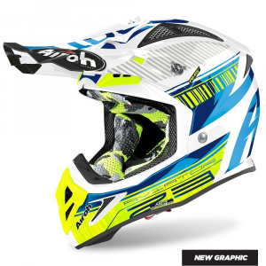 CASCO MOTO CROSS AIROH AVIATOR 2.3 AMS2 NOVAK CHROME BLUE 2020 AV23N18