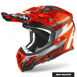 CASCO MOTO CROSS AIROH AVIATOR 2.3 AMS2 NOVAK CHROME ORANGE 2020 AV23N32