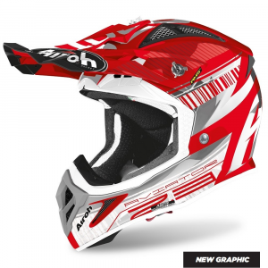 CASCO MOTO CROSS AIROH AVIATOR 2.3 AMS2 NOVAK CHROME RED 2020 AV23N55