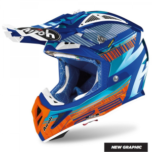 CASCO MOTO CROSS AIROH AVIATOR 2.3 AMS2 NOVAK CHROME AZURE 2020 AV23N99