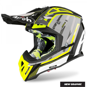 CASCO MOTO CROSS AIROH AVIATOR 2.3 AMS2 GLOW CHROME YELLOW 2020 AV23GL31