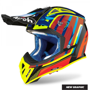 CASCO MOTO CROSS AIROH AVIATOR 2.3 AMS2 GLOW CHROME ORANGE 2020 AV23GL32