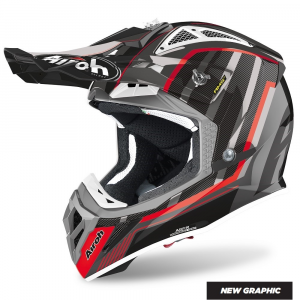 CASCO MOTO CROSS AIROH AVIATOR 2.3 AMS2 GLOW CHROME GREY 2020 AV23GL16