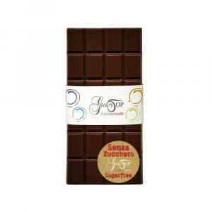 Tavoletta di cioccolato fondente al 60% senza zucchero, confezione da gr 80