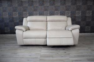 GREGG - Divano relax manuale in pelle grigio perla a 3 posti