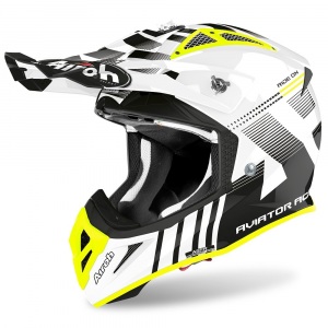 CASCO MOTO CROSS AIROH AVIATOR ACE NEMESI WHITE GLOSS 2020 AVAN38