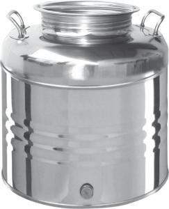 FUSTO IN ACCIAIO INOX PER OLIO LT.30 (rubinetto omaggio)
