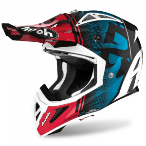 CASCO MOTO CROSS AIROH AVIATOR ACE KYBON BLUE/RED GLOSS 2020 AVAK18