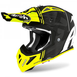 CASCO MOTO CROSS AIROH AVIATOR ACE KYBON YELLOW MATT 2020 AVAK31