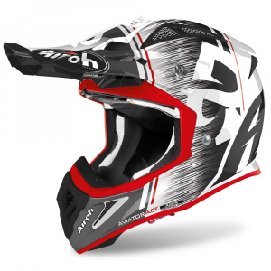 CASCO MOTO CROSS AIROH AVIATOR ACE KYBON RED GLOSS 2020 AVAK55
