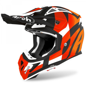 CASCO MOTO CROSS AIROH AVIATOR ACE TRICK ORANGE MATT 2020 AVAT32
