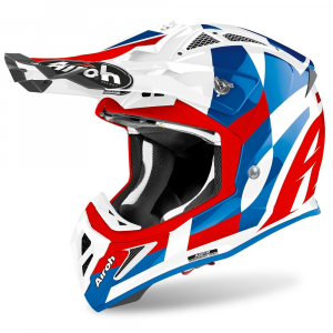 CASCO MOTO CROSS AIROH AVIATOR ACE TRICK BLUE GLOSS 2020 AVAT18