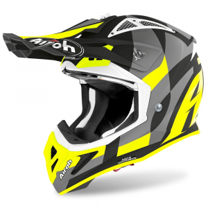 CASCO MOTO CROSS AIROH AVIATOR ACE TRICK YELLOW MATT 2020 AVAT31