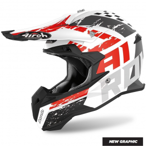 CASCO MOTO CROSS AIROH TERMINATOR HANGER RED MATT 2020 TOVH55