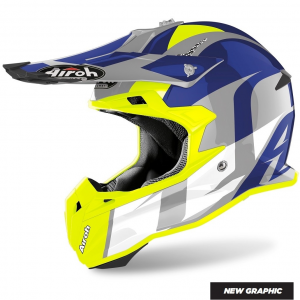 CASCO MOTO CROSS AIROH TERMINATOR SHOOT BLUE GLOSS 2020 TOVS16