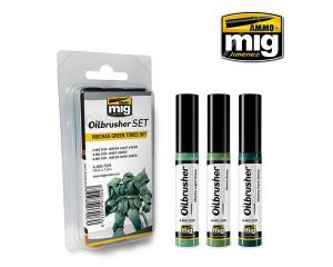 3 x OILBRUSHER, MECHAS GREEN TONES SET