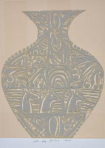 Hassan Fathi, Serigrafia polimaterica con polvere di marmo, Formato cm 50x62