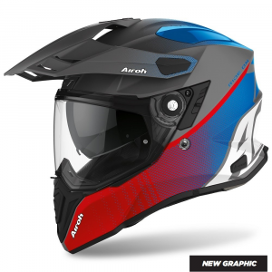CASCO MOTO AIROH COMMANDER PROGRESS RED/BLUE MATT 2020 CMP29