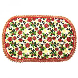 Tovaglietta ovale in stoffa natalizia con bordo rosso e oro - HANDMADE