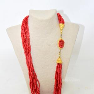 Colla Perline Tipo Corallo Rossa