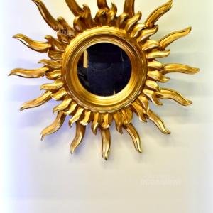 Specchio Sole In Legno