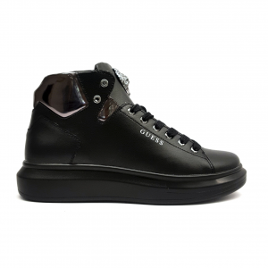Sneaker alta nera con leone Guess