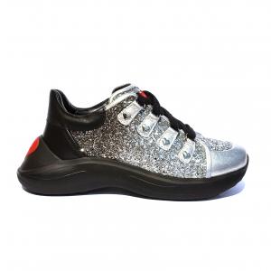 Chunky sneaker argento/nera Love Moschino