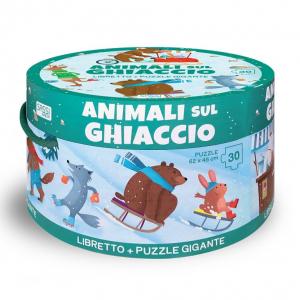 SASSI EDITORE LIBRO & PUZZLE GIGANTE. ANIMALI SUL GHIACCIO (N.E. 2019)