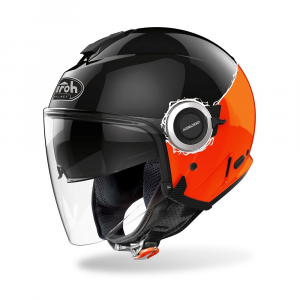 CASCO JET MOTO AIROH HELIOS FLUO ORANGE GLOSS 2020 HEF32