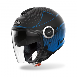 CASCO JET MOTO AIROH HELIOS MAP BLUE MATT 2020 HEM19