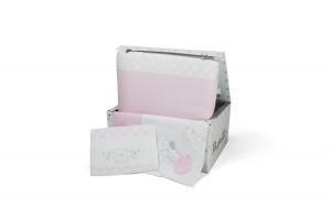 Completo piumone in scatola per lettino ricamato completo di lenzuolino modello Pastello